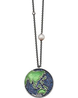Sapphire Earth Eastern Pendant Necklace
