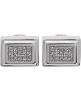 Silver Baja Deco Diamond Stud Earrings
