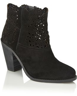 Cachelle Scalloped Suede Ankle Boots