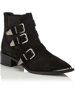 3 Buckle Suede Boots