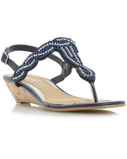 Naavi Beaded Plait Strap Sandals