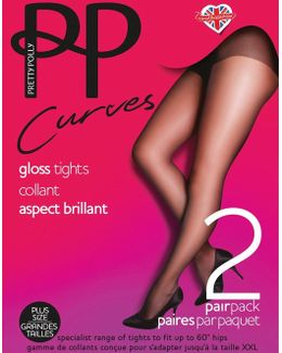 Curves 2 Pack Glossy 10 Denier Tights