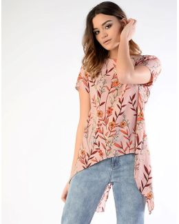 Printed Split Back Top