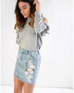 Frill Front Cold Shoulder Jumper