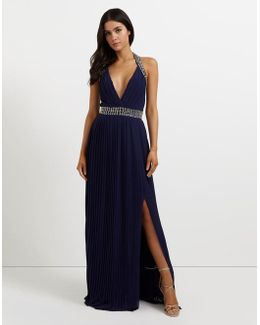 Embellished Halter Pleated Maxi Dress