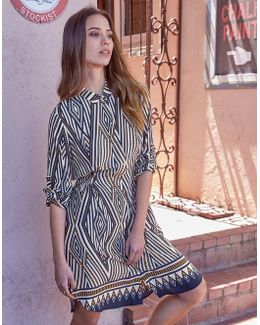 Geometric Long Sleeve Dress