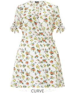 Curve Floral Print Wrap Skater Dress