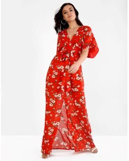 Printed Split Front Maxi Dress