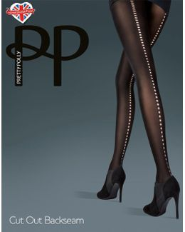 Opaque Cut Out Backseam Tights