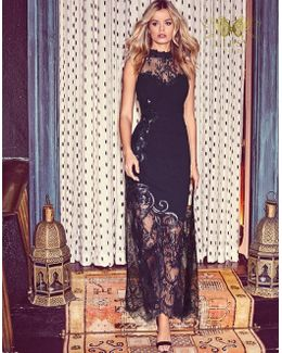 Vip High Neck Lace Detail Maxi Dress