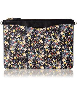 Rachel Navy Leather Floral Print Pouch