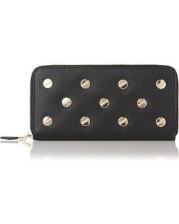 Kenza Black Leather Studded Purse