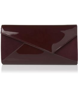 Lindy Oxblood Suede Patent Clutch