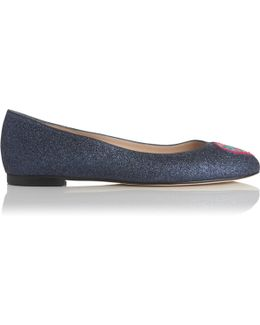 Zoja Navy Glitter Embroidered Flats