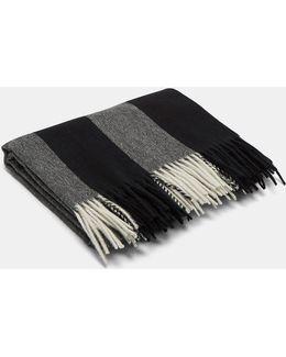 Unisex Canada Bengal Stripe Wool Scarf In Grey