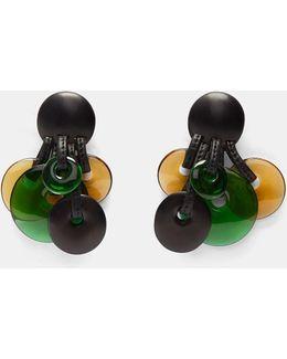 Women's Ebony Clip-on Disk Earrings In Black, Green And Brown