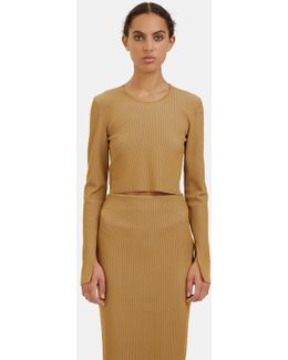 Women's Bao Ribbed Knit Cropped Sweater In Camel