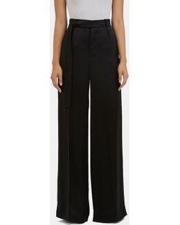 Women's Huranal Wide Leg Satin Pants In Black