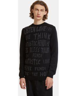 Fleeced Text Intarsia Knit Sweater In Black