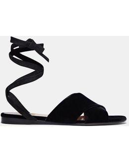 Women's Velvet Crossover Wrap Sandals In Black