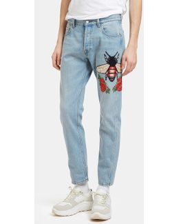 Men's Embroidered Floral Fly Patch Jeans In Blue
