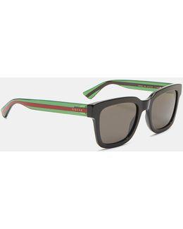 Men's Striped Arm Squared Sunglasses In Black
