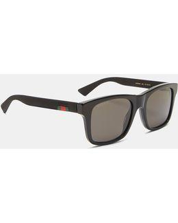 Men's Rubberised Arm Squared Sunglasses In Black