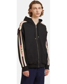 Striped Technical Jersey Hooded Sweater In Black