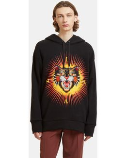 Angry Cat Embroidered Hooded Sweater In Black