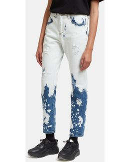 Blue & White Chlorine Wash Jeans