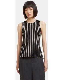 Women's Raw Pinstriped Tank Top In Black