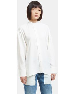 Women's Raw Side Tie Twill Tunic Shirt In White