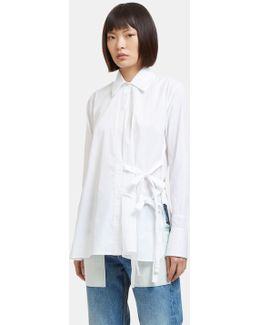 Women's Side Tie Poplin Shirt In White