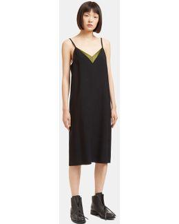 Women's Satin V-neck Slip Dress In Black