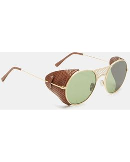 Lawrence Leather Flap Oval Sunglasses In Gold And Brown