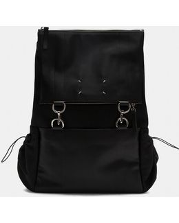 Mesh And Leather Link Ring Backpack In Black