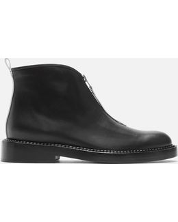 Contrast Fixed Zip Ankle Boots In Black