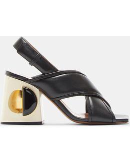 Hollow-holed Cross Strap Block Heel Sandals In Black