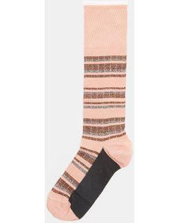 Calza Metallic Striped Calf Length Socks In Pink