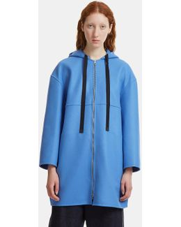 Oversized Double-faced Felted Coat In Blue