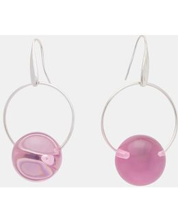 Sphere Drop Earrings In Silver And Lilac