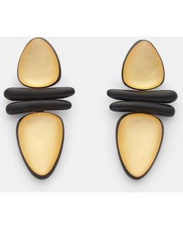 7798 Ebony And Gold Leaf Clip-on Earrings In Black And Gold
