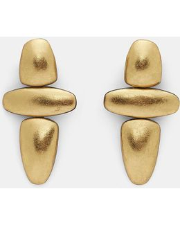 7778 Painted Pebble Clip-on Earrings In Gold