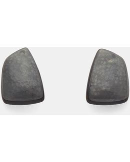 24919 Ebony And Oxidised Copper Clip-on Earrings In Black