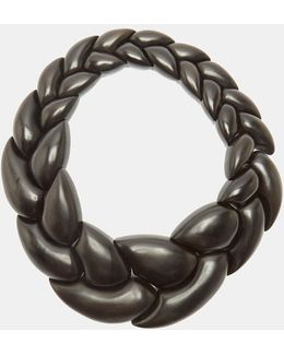 24945 Ebony Pebble Braided Necklace In Black