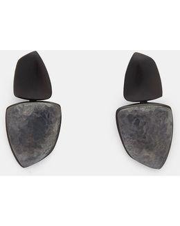 24919 Ebony And Oxidised Copper Clip-on Drop Earrings In Black