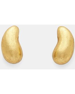 24947 Warped Acacia Gold Leaf Pebble Clip-on Earrings In Gold