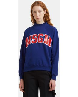 Logo-printed Raw Mock Neck Sweater In Blue