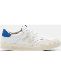 Men's 300 Leather Sneakers In White And Beige