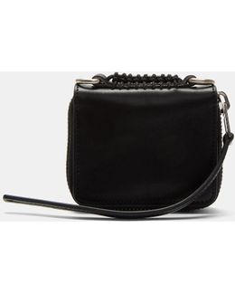 Small Zip-around Braided Credit Card Wallet In Black
